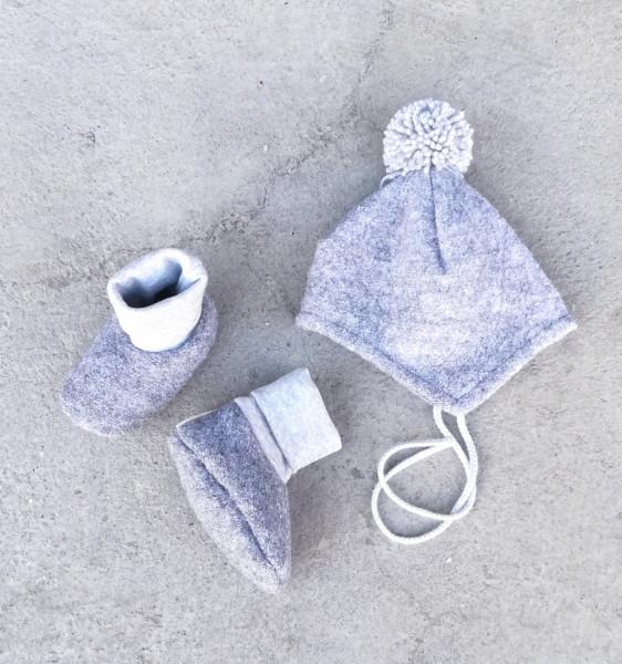 Set Babywollmütze mit passenden Babybooties